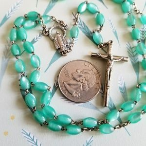 Vintage Jewelry - Vintage moonglow rosary teal green silver tone